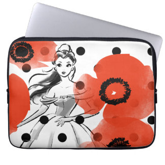 Belle With Poppies and Polka Dots Laptop Sleeve