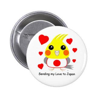 BelleBelle (cockatiel/bird) sending love to Japan 2 Inch Round Button