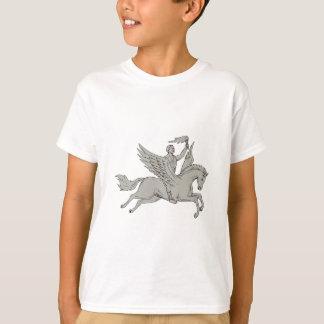 Bellerophon montant le dessin de torche de t-shirt