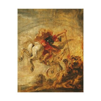 Bellerophon Riding Pegasus Fighting the Chimaera Stretched Canvas Print