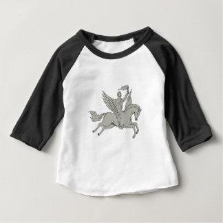 Bellerophon Riding Pegasus Holding Torch Drawing Baby T-Shirt