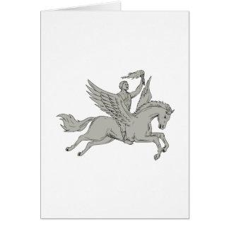Bellerophon Riding Pegasus Holding Torch Drawing Card