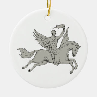 Bellerophon Riding Pegasus Holding Torch Drawing Ceramic Ornament