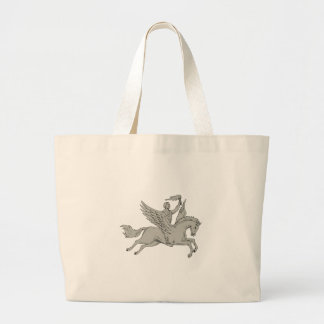 Bellerophon Riding Pegasus Holding Torch Drawing Large Tote Bag