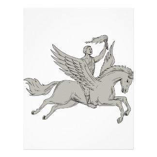 Bellerophon Riding Pegasus Holding Torch Drawing Letterhead