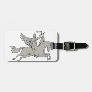 Bellerophon Riding Pegasus Holding Torch Drawing Luggage Tag