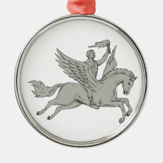 Bellerophon Riding Pegasus Holding Torch Drawing Metal Ornament