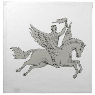 Bellerophon Riding Pegasus Holding Torch Drawing Napkin