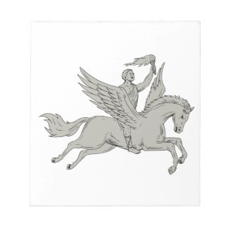Bellerophon Riding Pegasus Holding Torch Drawing Notepad