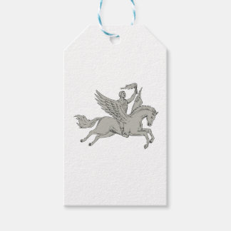Bellerophon Riding Pegasus Holding Torch Drawing Pack Of Gift Tags