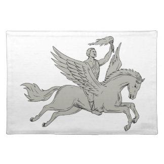 Bellerophon Riding Pegasus Holding Torch Drawing Placemat