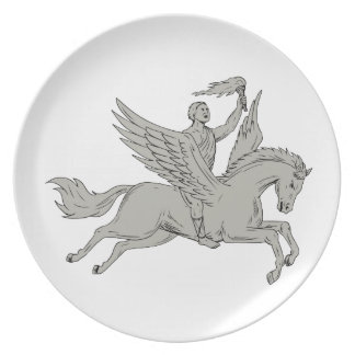 Bellerophon Riding Pegasus Holding Torch Drawing Plate