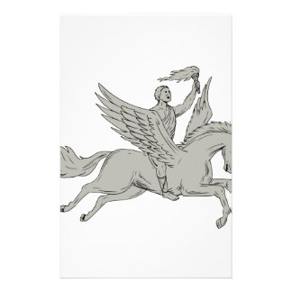 Bellerophon Riding Pegasus Holding Torch Drawing Stationery