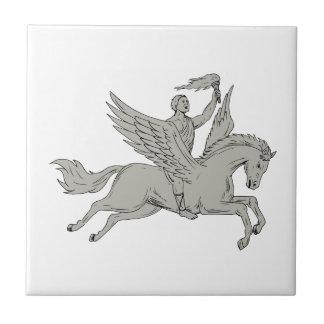 Bellerophon Riding Pegasus Holding Torch Drawing Tile