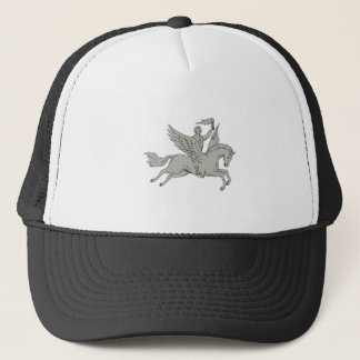 Bellerophon Riding Pegasus Holding Torch Drawing Trucker Hat