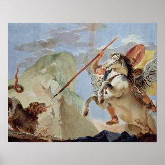 Bellerophon, riding Pegasus, slaying the Chimaera, Poster
