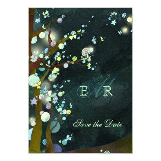 Belles économies lunatiques de monogramme de nuit carton d'invitation  12,7 cm x 17,78 cm