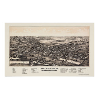 Bellevue, OH Panoramic Map - 1888 Poster