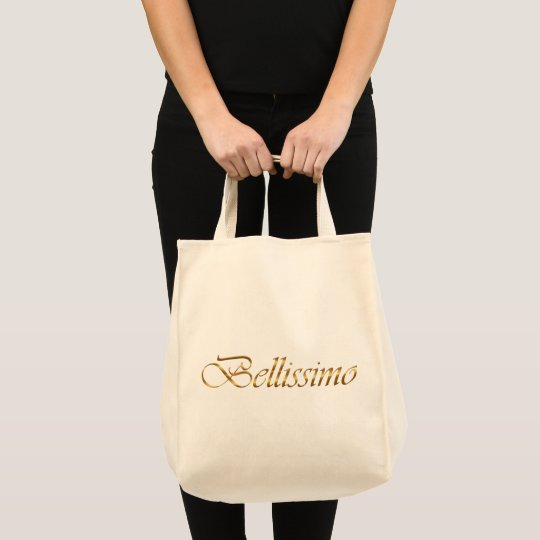 bellissimo. Golden gradient text. Tote Bag