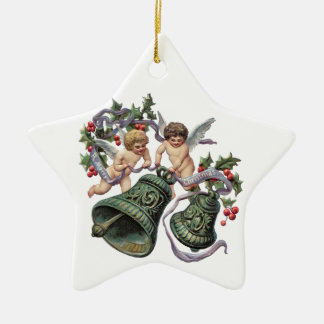 Bells and Angels Double-Sided Star Ceramic Christmas Ornament