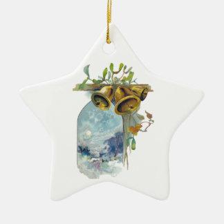 Bells and Winter Scene Ceramic Star Ornament