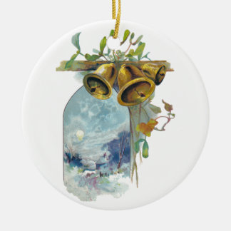 Bells and Winter Scene Double-Sided Ceramic Round Christmas Ornament