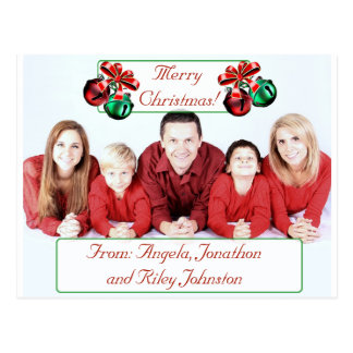 Bells Christmas personalized Family Photo Postcard