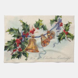 Bells Ribbon Holly Winterberry Kitchen Towel