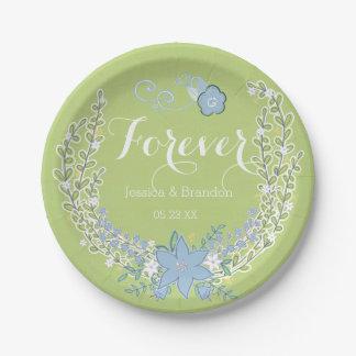 Bells vert-bleu épousant pour toujours les plaques assiette en papier 17,8 cm