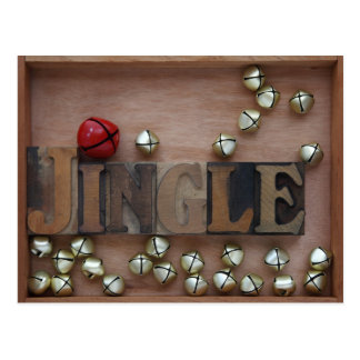 bells with the word jingle postcard