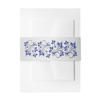 Belly Band | Royal Blue, Silver Gray, Floral Invitation Belly Band
