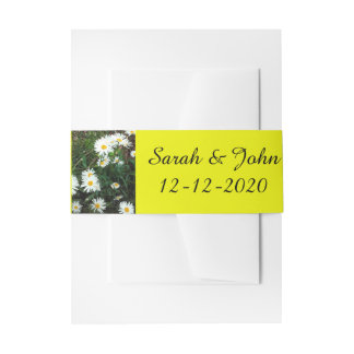 Belly Bands Floral Daisy wedding Yellow Invitation Belly Band