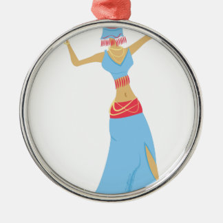 Belly Dancer Silver-Colored Round Ornament