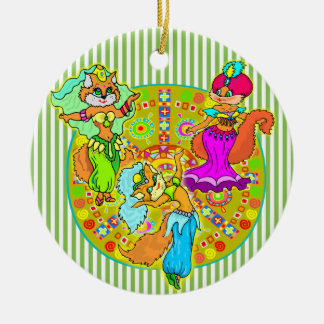 Belly Dancing Cats Ceramic Ornament