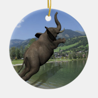 Belly Flop Elephant Ceramic Ornament