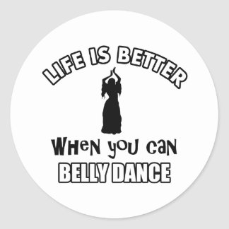 Bellydancing designs classic round sticker