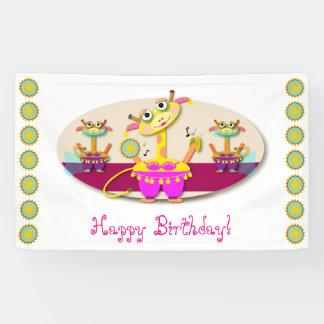 Bellydancing Giraffes Cartoon Happy Birthday Banner