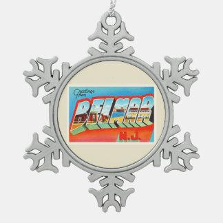 Belmar New Jersey NJ Old Vintage Travel Postcard- Pewter Snowflake Ornament