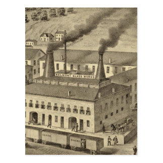 Belmont Glass Works, Bellaire, Ohio Postcard