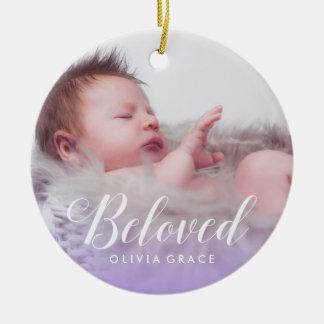 Beloved Purple | Baby Photo Name & Birth Stats Round Ceramic Ornament