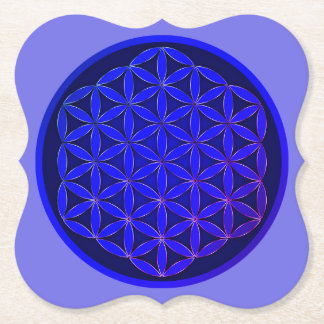 Below glass Fleur de Vie Paper Coaster