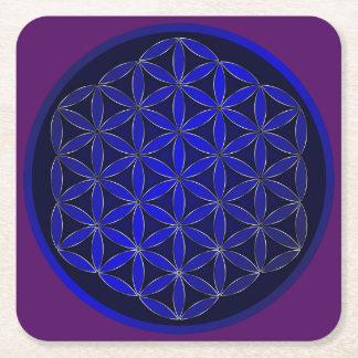 Below glass Fleur de Vie Square Paper Coaster