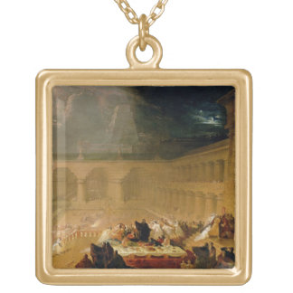 Belshazzar's Feast (oil on canvas) Gold Plated Necklace
