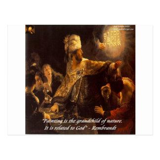 Belshazzar's Feast & Rembradt Quote Postcard