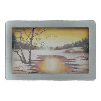 Belt Buckle Ann Hayes Painting Winter Scene