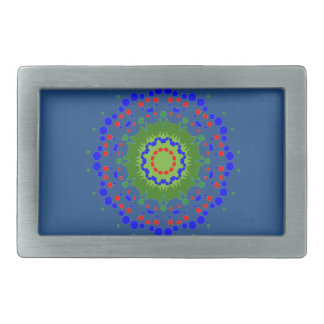 Belt Buckle with Colorful Mandala Blue Background