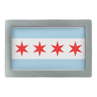 Belt Buckle with Flag of Chicago, Illinois State