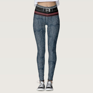 Belted, Dirty-Striped Stonewashed Skinny Jean Leggings