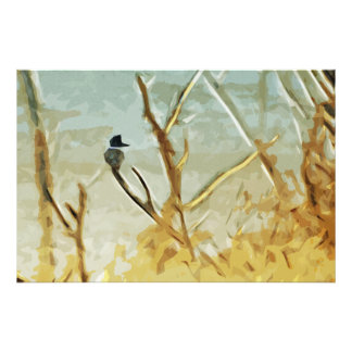 Belted Kingfisher at Rivers Edge Abstract Photographic Print
