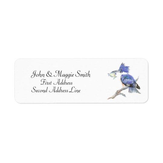 Belted Kingfisher - Bird, Nature Address Label